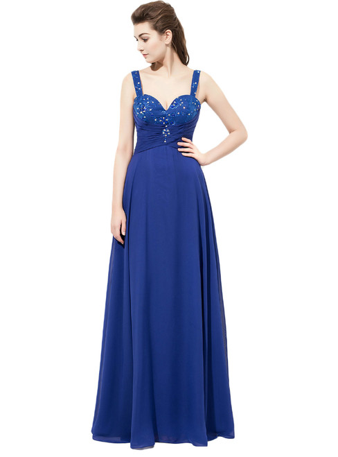 Royal Blue Spaghetti Straps Chiffon Bridesmaid Dress