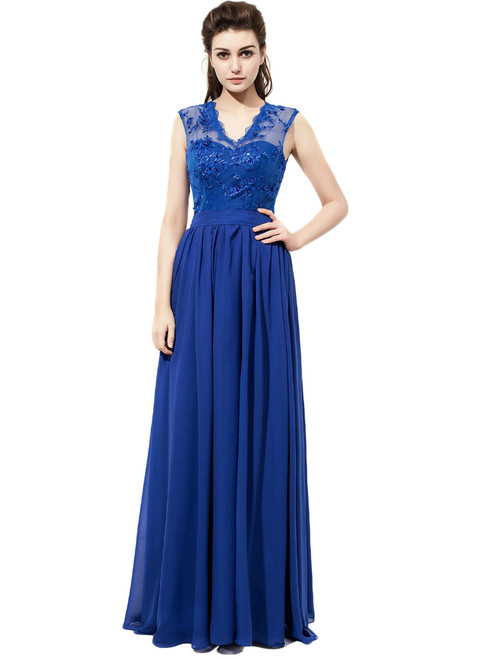V Neck Royal Blue Chiffon With Lace Bridesmaid Dresses
