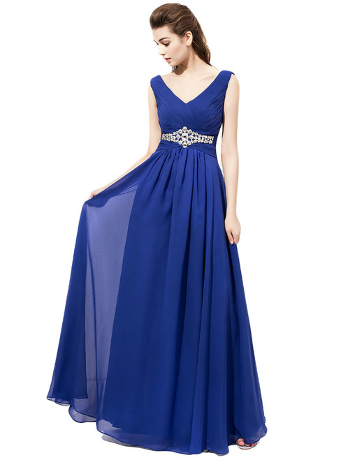 Royal Blue Chiffon V-neck Pleats Bridesmaid Dresses