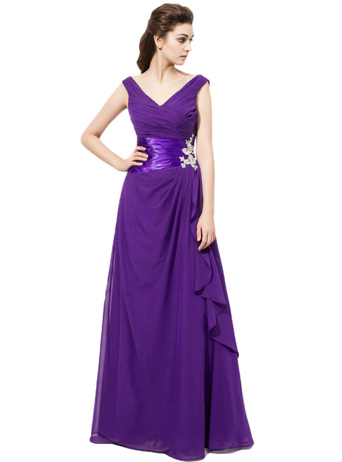 V Neck Purple Chiffon With Ruched Bodice Bridesmaid Dresses