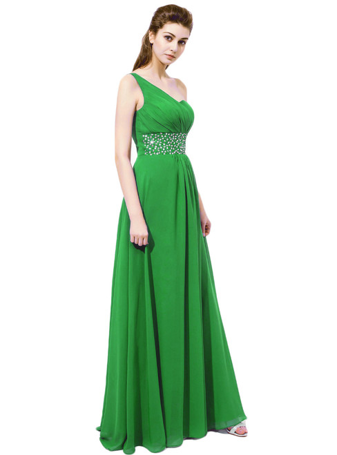 Green One Shoulder Chiffon With Beaded Waistline  Bridesmaid Dresses