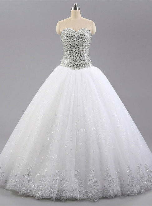 White Rhinestone Long Sweetheart Tulle Wedding Dress