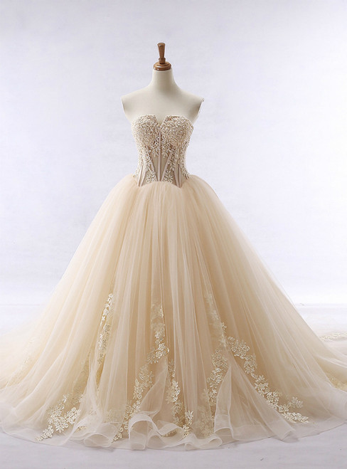 Lace Applique Champagne Tulle Sweetheart Neckline Wedding Dress