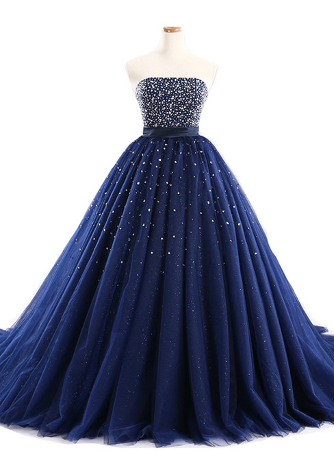 Navy Blue Ball Gown Tulle Sweetheart With Beaded Bodice Prom Dresses