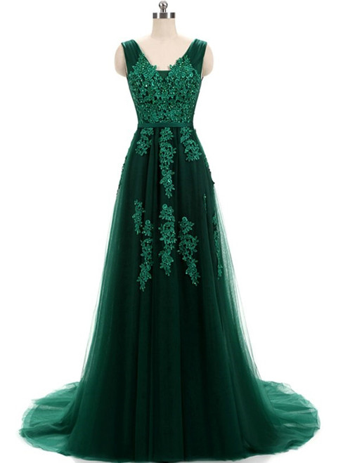 Hunter Green Lace Applique Tulle V Neck And Lace Up Prom Dress