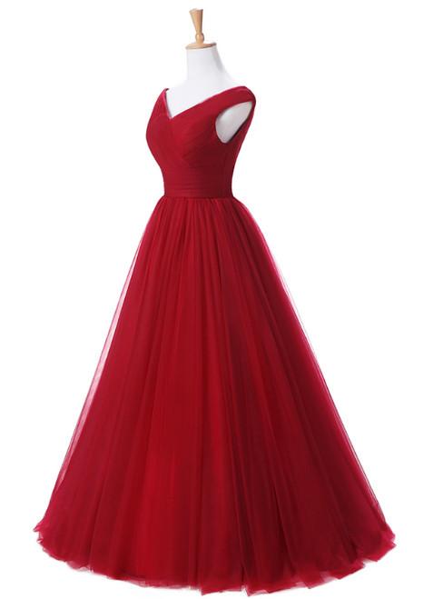 A Line Burgundy  Long V-neck Tulle Prom Dresses