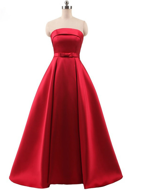 Red A Line Satin Strapless Prom Dress With Bow