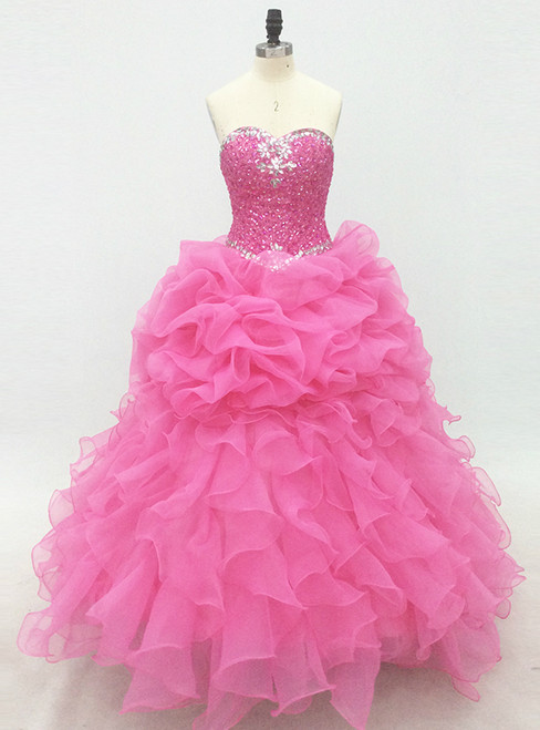 Pink Long Elegant Lace-Up Organza Prom Dress With Beaded Bodice