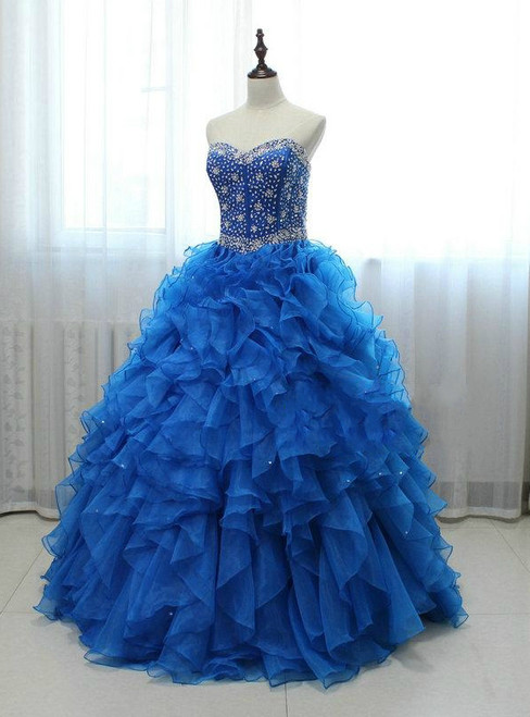 Long Royal Blue Beaded Organza Featuring Sweetheart Neck Prom Dresses