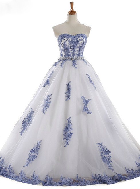 Lace Applique Tulle Sweetheart Neckline Prom Dress