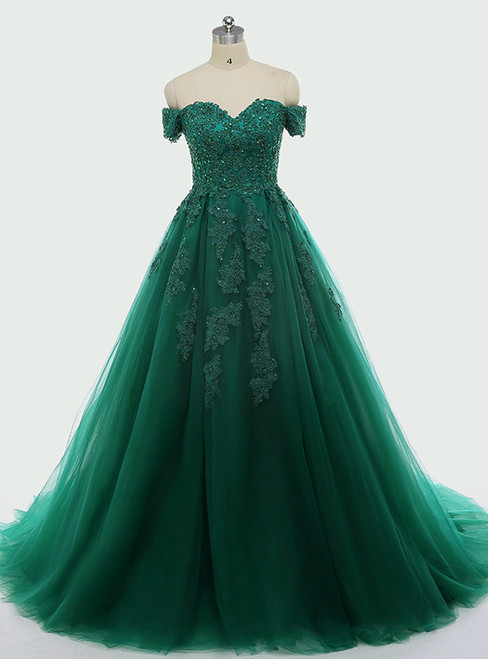 Dark Green Lace Appliques Short Sleeve Ball Gown For 15 Quinceanera Dresses