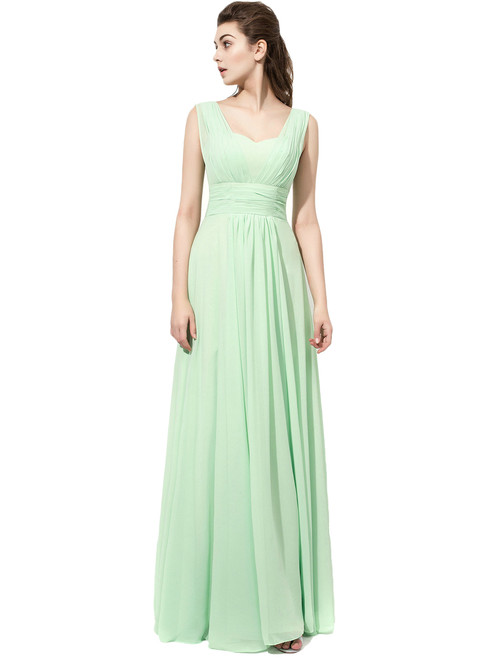 Sage Green Ruched Strapless Chiffon Bridesmaid Dress