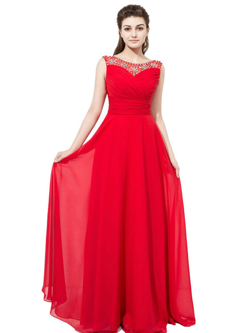 Red Chiffon Featuring Beaded Bodice With Sheer Bateau Neckline Bridesmaid Dress