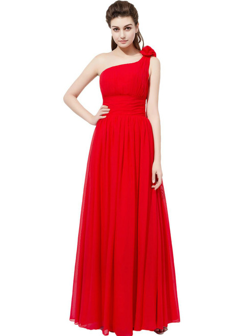 Floor Length Red Chiffon Featuring Floral One Shoulder Bridesmaid Dress