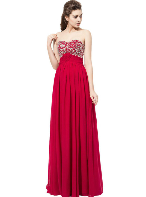 Burgundy Chiffon Beaded Sweetheart Neckline Bridesmaid Dress