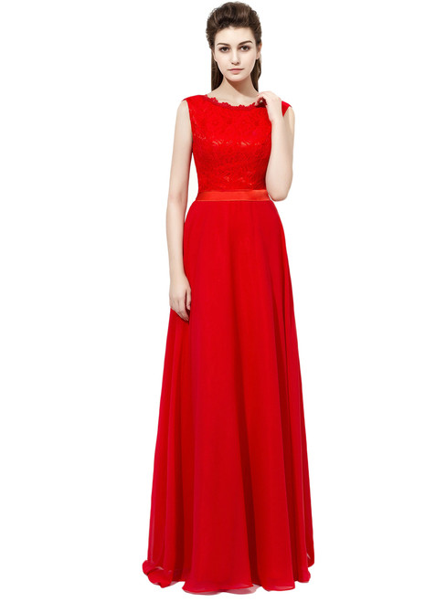Red Chiffon Lace Floor Length Bridesmaid Dress