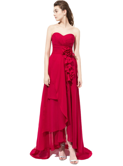 Burgundy High Low Chiffon Bridesmaid Dress With Ruched Bodice