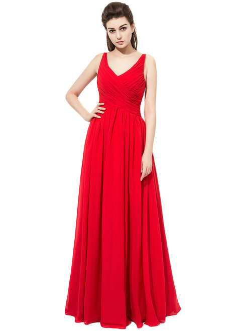 Red Floor Length Chiffon V Neck With Ruched Bodice Bridesmaid Dress