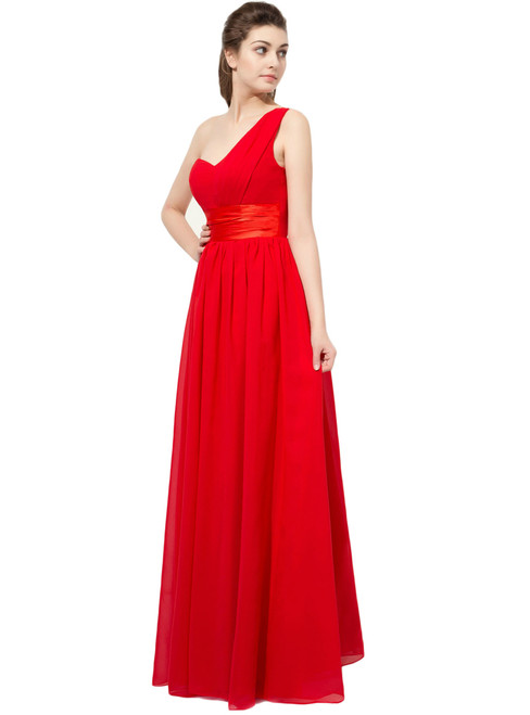 Red Ruched One Shoulder Chiffon Bridesmaid Dress