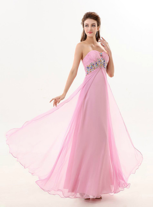 A Line Sweetheart Chiffon Pink Backless Backless Beaded Bridesmaid Dress
