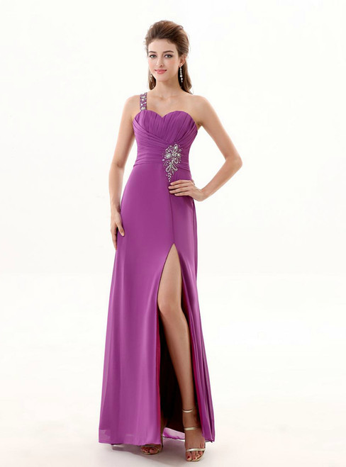 A Line One Shoulder Chiffon Purple  Beaded Bridesmaid Dresses