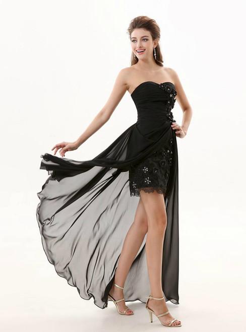 Black Sheath Chiffon Sweetheart With Flower Pleats Bridesmaid Dress