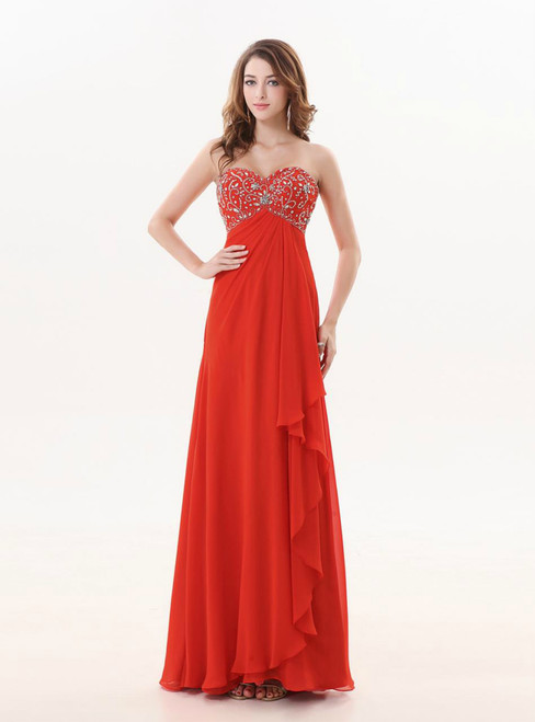 A Line Red Long Sweetheart Beaded Bridesmaid Dress
