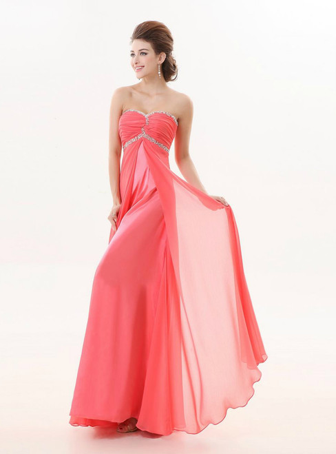 Watermelon Red Long Sweetheart A Line Strapless Beaded Dress