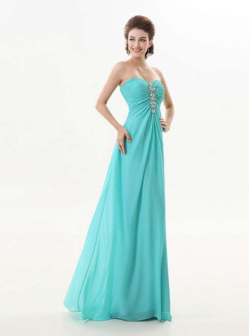 A Line Blue Chiffon Turquoise Long Sweetheart Bridesmaid Dress