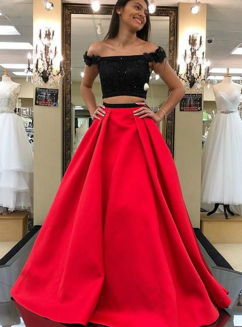 Two Piece Off the Shoulder Red with Beading Flowers Prom Dress