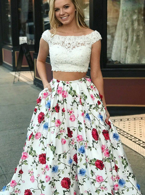 Two Piece Bateau White Floral Satin with Pockets Prom Dress