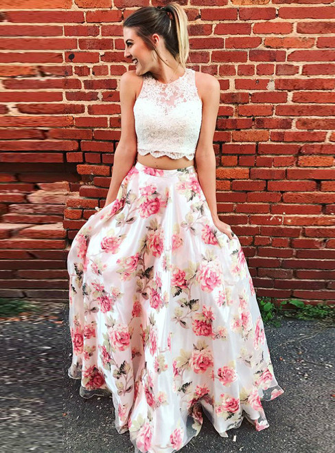 Two Piece Scoop Neck Floral Chiffon Appliques Prom Dress