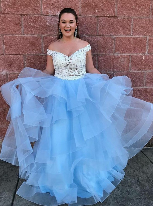 Blue Two Piece Off the Shoulder Tiered Tulle Prom Dress