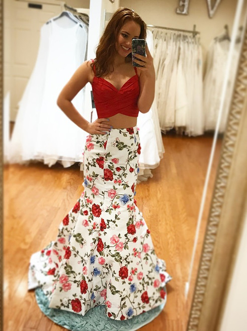 Mermaid Spaghetti Straps Two Piece Sweep Train Floral Prom Dress