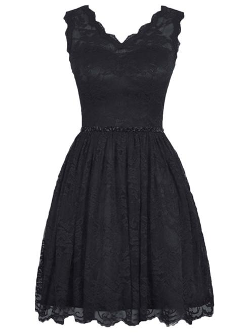 Short Lace Knee Length Backless Bridesmaid Dress
