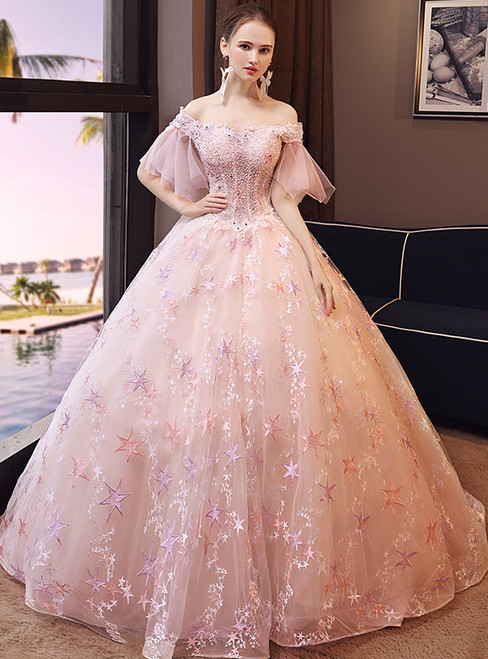In Stock:Ship in 48 hours Ready To Ship Off The Shoulder Pink Wedding Dress