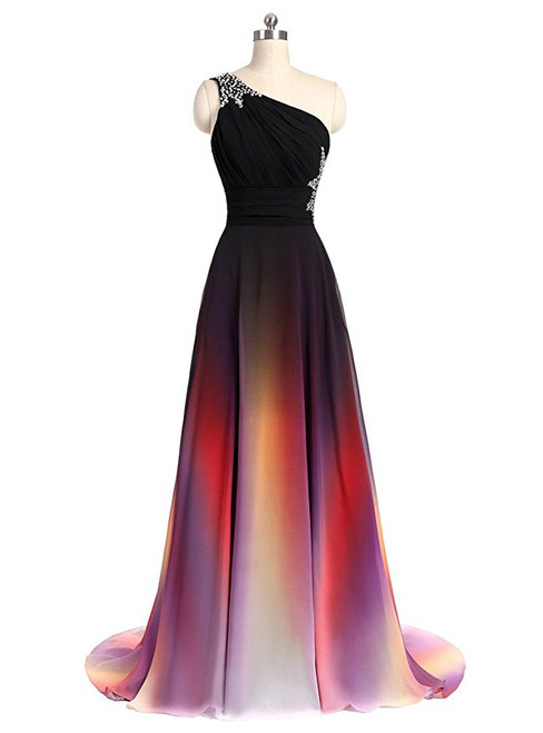 Cheap Chiffon One Shoulder Pleats Beading Bridesmaid Dress