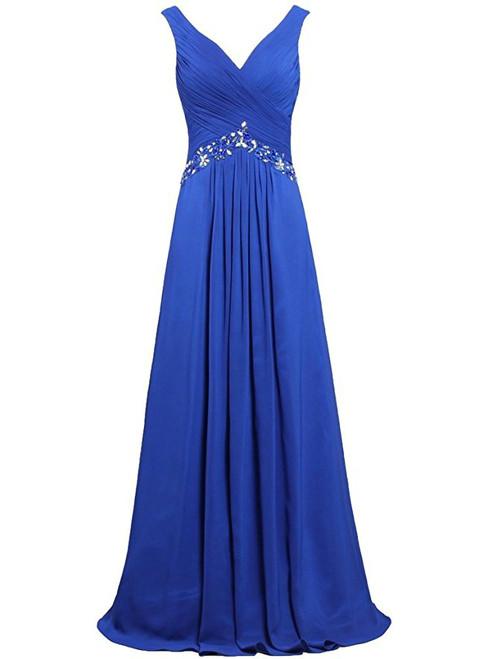 Blue Chiffon V-neck Floor Length Bridesmaid Dress
