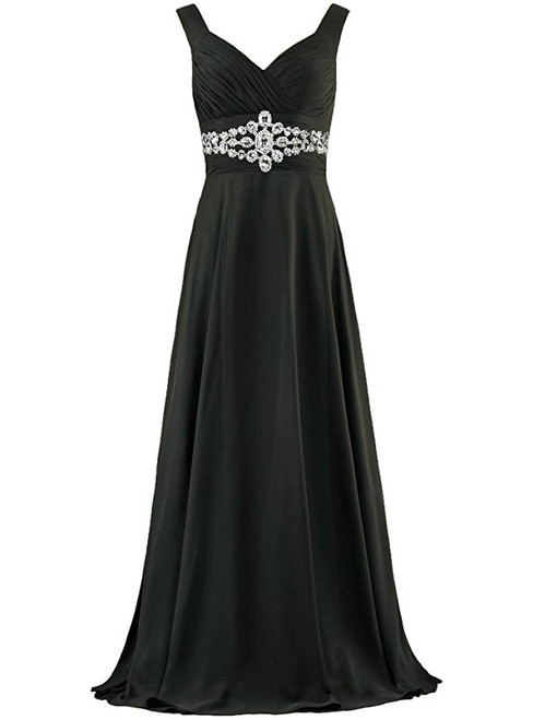 A-Line Chiffon V-neck Floor Length Bridesmaid Dress