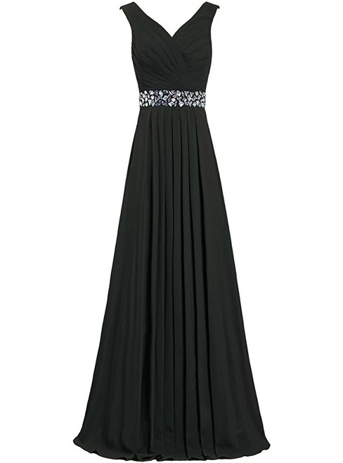 A-Line Chiffon V-neck Floor Length Bridesmaid Dress With Beading