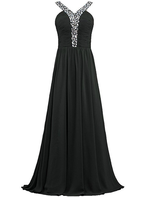 A-Line Halter Chiffon Pleats Bridesmaid Dress With Beading
