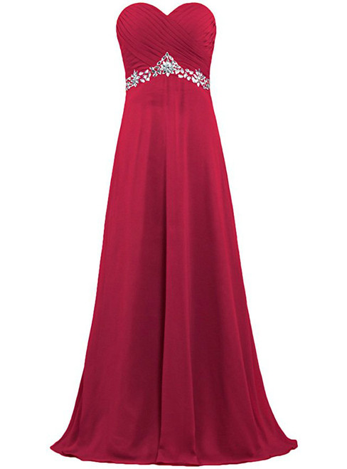 A-Line Sweetheart Chiffon Floor Length Bridesmaid Dress With Crystal