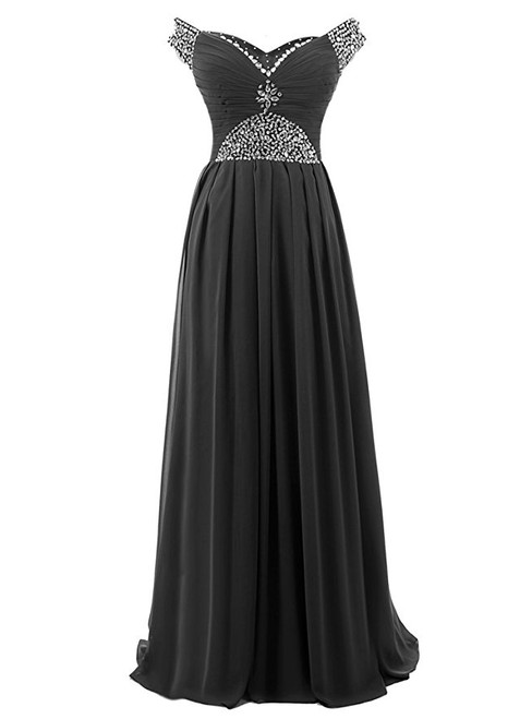 A-Line Off The Shoulder Chiffon Beading Pleats Bridesmaid Dress