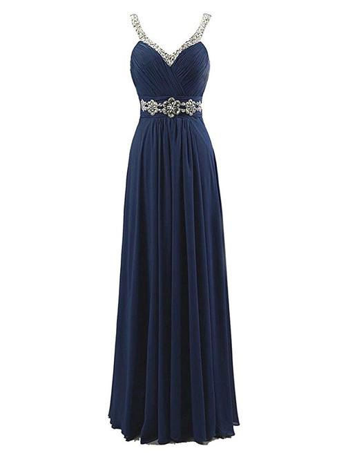 A-Line Spaghetti V-neck Chiffon Pleats Beading Bridesmaid Dress