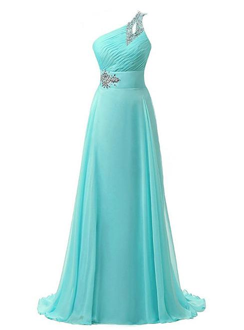 A-Line One Shoulder Chiffon Pleats Crystal Bridesmaid Dress