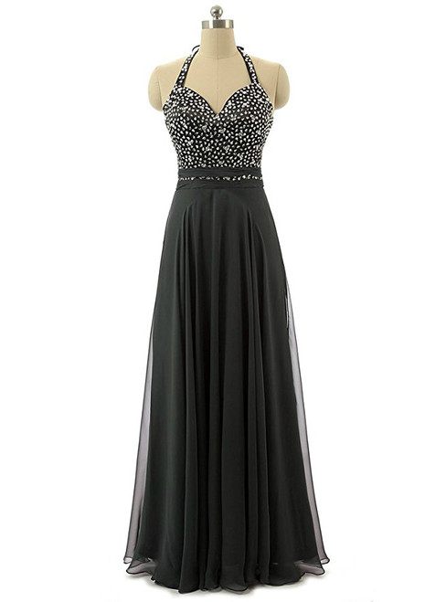 A-Line Halter Backless Chiffon Bridesmaid Dress With Beading