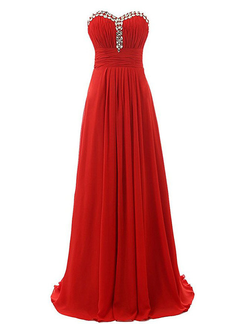 A-Line Sweetheart Neck Chiffon Floor Length Bridesmaid Dress