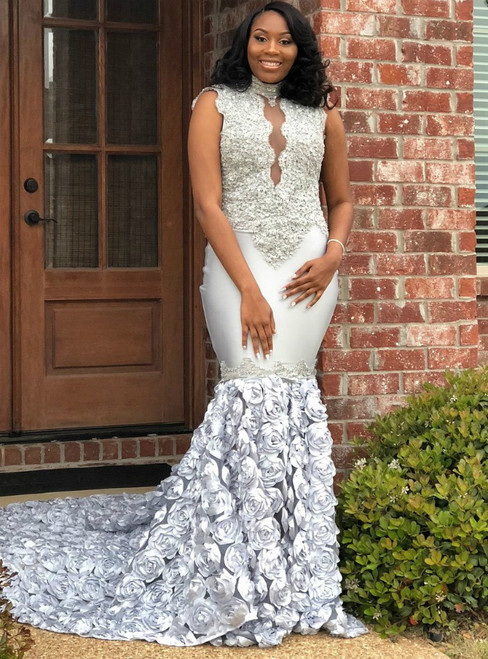 High Neck Silver Mermaid Lace Appliqued Backless Prom Dress