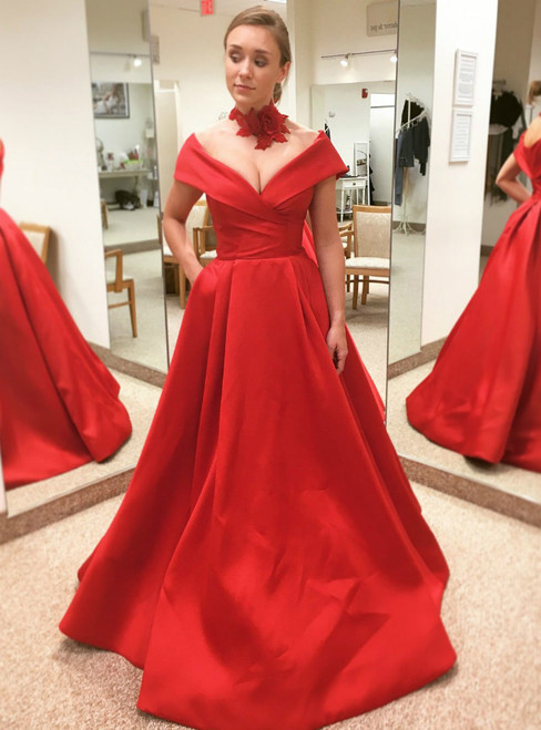 Off the Shoulder Red Satin With Pockets Red Quinceanera Dress
