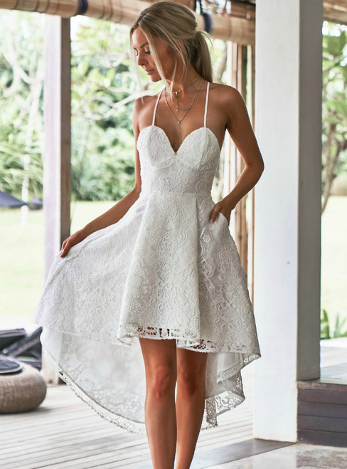 A-Line Spaghetti Straps High Low White Lace with Pockets Prom Dress